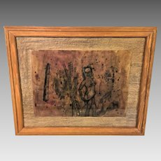 Vintage Penciled Drawing of Native American Woman in Trees Horses Face of Baby    Mixed Media on Paper Native American Motif  Framed Under Glass   * 96 Purplish Paper