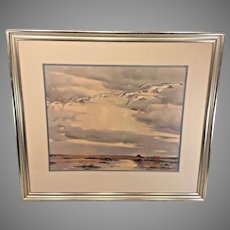 Vintage Lithograph of Snow Geese in Flight   by Pieter Van Der Hem   Professionally Matted & Framed