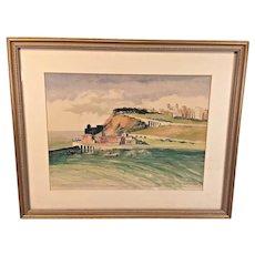 Vintage Harry Stevens Watercolor of Village and Coastline Framed & Matted