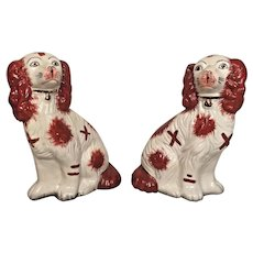 Pair of Vintage Matching Staffordshire   King Charles Spaniel Dogs