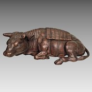 Antique Carved Wood Ox or Water Buffalo  Chinese or Indian Origination