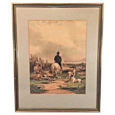 Antique Rabbit / Hare Hunting Lithograph   Framed and Matted   by David Bendann's Gallery of Baltimore, MD