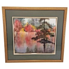 "Elizabeth Damiani Watercolor Painting ""Color in the Pinelands""    Offered in a Salmagund Art Auction in 1992 Professionally Framed & Matted"