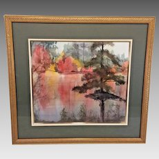 """Elizabeth Damiani Watercolor Painting """"Color in the Pinelands""""    Offered in a Salmagund Art Auction in 1992 Professionally Framed & Matted"""