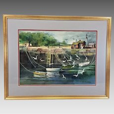 M Andrews Watercolor Painting of Fishing Village and Cove Matted & Framed