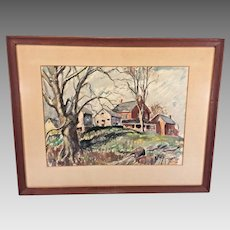 W Heber Kurtz Watercolor Painting of Farmhouse & Outbuildings Morgantown, Berks County Framed & Matted 1947