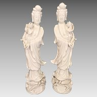 Porcelain Blanc De Chine Goddesses of Compassion & Mercy Figurines    One Hand is Removable to Place a Person's Wishes Inside  Hong Kong