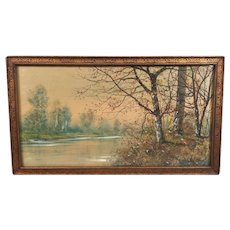 Raphael Senseman Watercolor of Trees by River/Creek in the Fall  Nicely Framed