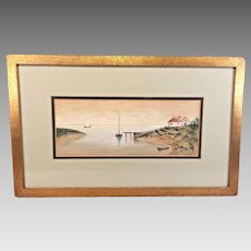 C H Repp Watercolor Painting of  Cottage Cove Boats and Ocean 1907 Framed and Matted