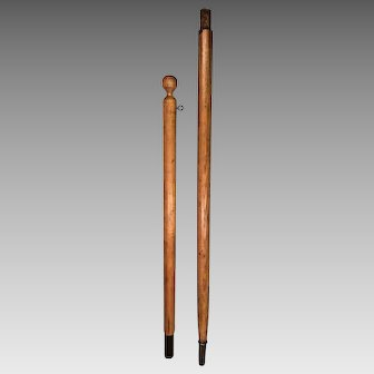 Antique Wooden 2 Section Flagpole Brass Pointed Base & Center Section