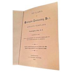 Washington Commandery #1 Bylaws Book 1887  Knight Templars Washington DC