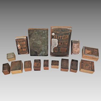 Wood and Copper Plate Print Blocks Primarily Advertising Pieces