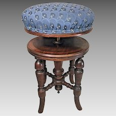 Antique Piano Stool   H Brooks and Company, England  Elegantly Detailed Legs   Padded Top