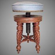 Victorian Carved Walnut Piano Stool Unique Wood Screw Adjustable Seat Barley Twist Legs  Unknown Maker