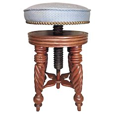 Victorian Carved Walnut Piano Stool Unique Wood Screw Adjustable Seat Barley Twist Legs  Unknown Maker