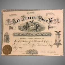 Civil War Related PA Grand Army of the Republic Certificate 1894 H Clay Beatty Post  # 73