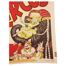 Vintage Clyde Beatty Circus Poster Circa 1940s  Elephant, Trapeze Artists, Clown, Lion, Tiger
