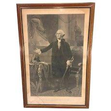 George Washington Engraving after Gilbert Stuart  Painting Oliver Pelton Engraver 1840s in Frame Under Glass