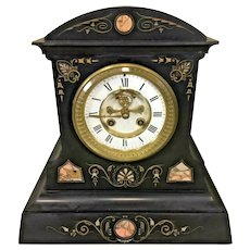 Antique Samuel Marti Slate & Marble Case Clock   w/ Decorative Detail and Open Escapement   Time & Strike Runs!