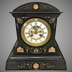 Antique Samuel Marti Slate & Marble Case Clock   w/ Decorative Detail and Open Escapement   Time & Strike Runs!