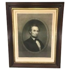 Historic Americana  Abraham Lincoln Engraving by William Edgar Marshall in Wood Frame Under Glass  1866 Christian Register Newspaper Page Back of Frame