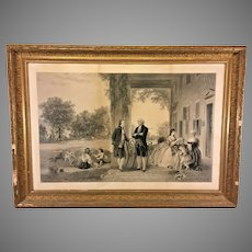 Historic Americana  The Home of George Washington Engraving Thomas Barlow 1863 in Frame Under Glass  Mount Vernon