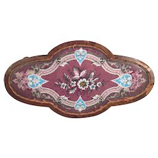 Antique Wooden Center Piece with Veneer Inlay Glass and Embroidery and Beading Design No Makers Mark Screwed on From Back with Wood Threaded Dowels