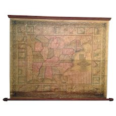 Mitchells National Map of the American Republic of or United States of North America 1845 Augustus Mitchell Philadelphia Top & Bottom Wood Poles