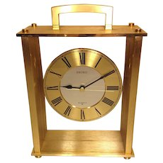 Seiko Brass Look Cased Quartz Clock Runs with Sweeping Seconds Hand