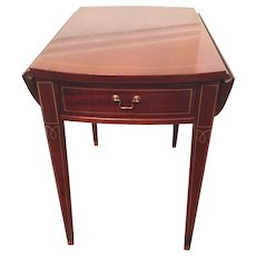 Vintage Hickory Chair Co Heppelwhite Pembroke Style One Drawer Drop Leaf Table
