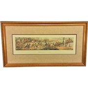"""Fox Hunt Print Entitled """"Breaking Cover"""" Made to Look Like An Engraving Professionally Framed & Matted Thomas McLean, London"""