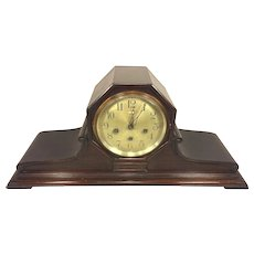 Antique Ansonia Sonia No 3 Tambour Case Clock Built in Bubble Level Westminster Chimes Mahogany Wood Case Runs Strikes Chimes Mid 1920s Ly-Ansonia #1690.