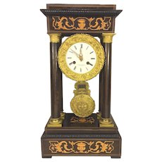 Antique French Empire Portico Mantel Clock Inlaid Wood Case Runs Bell Strike FC Mark on Movement 1850s to 1870s