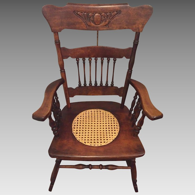 Antique Rocking Chair w/ Cane Seat Hartwig & Kemper Baltimore MD Mfgr - Antique Rocking Chair W/ Cane Seat Hartwig & Kemper Baltimore MD