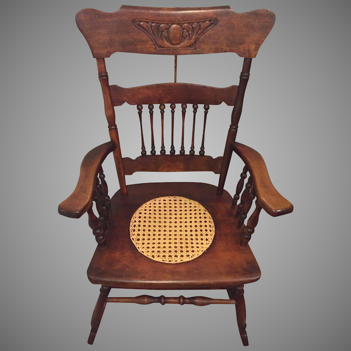 Astounding Antique Rocking Chair W Cane Seat Hartwig Kemper Baltimore Md Mfgr Gmtry Best Dining Table And Chair Ideas Images Gmtryco