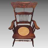 Antique Rocking Chair w/ Cane Seat Hartwig & Kemper Baltimore MD Mfgr