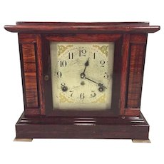 Vintage Seth Thomas Sonora Chime Clock 4 Bells Adamantine Case Running Brass Foot Missing