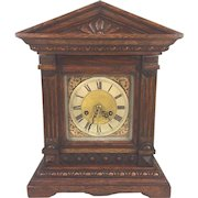 Antique Kienzle Bracket Clock Great Oak Wood Case Time & Strike Running