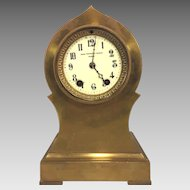 Antique Seth Thomas Brass or Bronze Case Mantel Clock Barrel Pendulum Porcelain Face Not Running