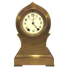 Antique Seth Thomas Brass or Bronze Case Mantel Clock Barrel Pendulum Porcelain Face Not Running