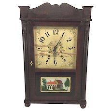 Antique Samuel Terry Clock Case Splat & Column with Brass Movement Not Running & Striking