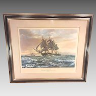 Vintage Roy Cross Constitution Ltd Edition Print Pencil Signed 29/750 Old Ironsides as Originally Commissioned in 1798