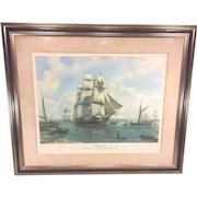 Vintage Roy Cross Ltd Edition Print 29/750 USS Constitution Olod Ironsides Moored on the Charles River Boston 1803