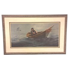 """Vtg Wellington Wood JR Limited Edition Pencil Signed Nautical Print of """"The Doryman"""" 1973 (486 of 1,500)"""