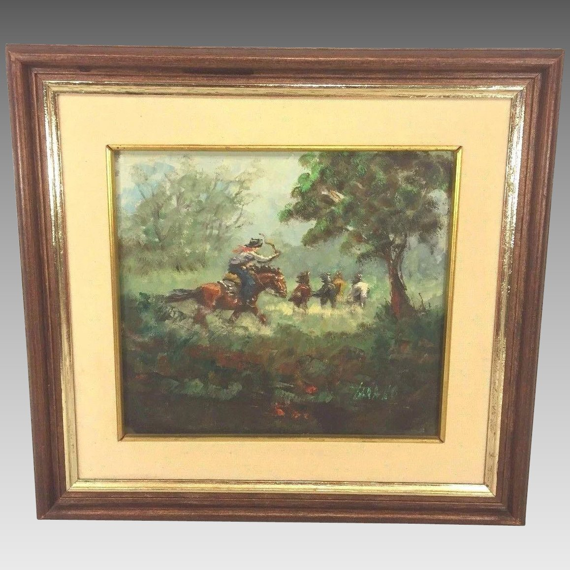 Vintage Rodolfo Tarallo Oil Painting in Frame Cowbow Rounding Up ...