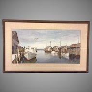 Vintage Wellington Wood Jr. Limited Edition Print of Fishing Shacks Framed & Matted (#372/1000)