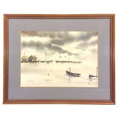 Vintage William  Garlick Watercolor Fishing Pier Shacks and Boat with Gulls Flying Matted & Framed