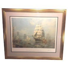 Vintage John Stobart Artist Proof Ltd Edition Print   New York The Ship Henry B Hyde Leaving Pier 20 East River in 1886   1983 Framed & Matted AP 21/25 of 750 Hand Signed and Numbered  Item Description