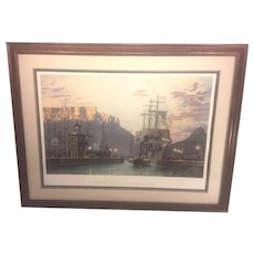 Vtg John Stobart Limited Edition Print 532/950   Cape Town The Bark William Hales Towing Out Past the Clock Tower at Dawn in 1886