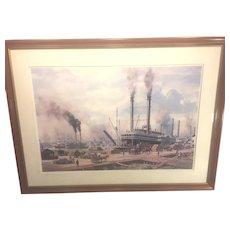 Vintag Roy Cross Open Edition Print of Port of New Orleans & Paddlewheelers Framed & Matt